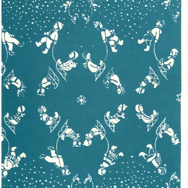 An original Folly Cove Designers hand block printed textile, circa 1955, in the Snow Flurry pattern designed by Mary...