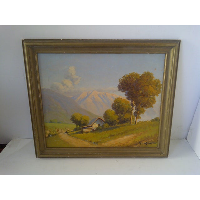 """Original Painting """"The Farm Lane"""" by Roman Matthews, Circa 1930 Framed. No glass. Ready for display. Good condition (the..."""