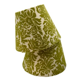 Vintage Green Velvet Damask Lampshades - A Pair