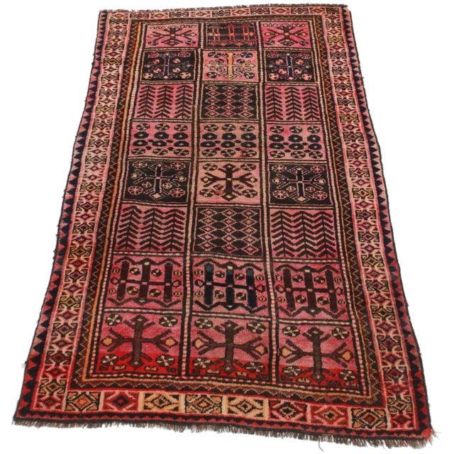 Vintage Persian Hamedan Wool Rug - 4′2″ × 7′7″ - Image 2 of 5