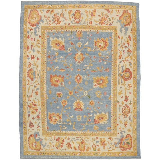 Textile Contemporary Turkish Oushak Rug - 11′10″ × 15′9″ For Sale - Image 7 of 7