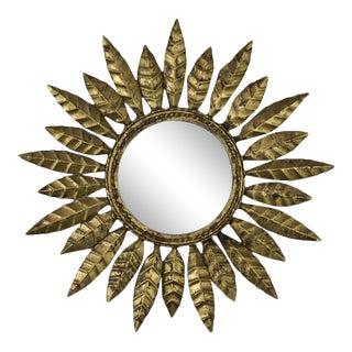 1940s Vintage Round Gilt Iron Sunburst Mirror For Sale