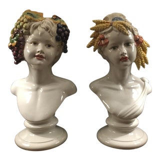 Ceramic Busts of Children With Fruit - A Pair