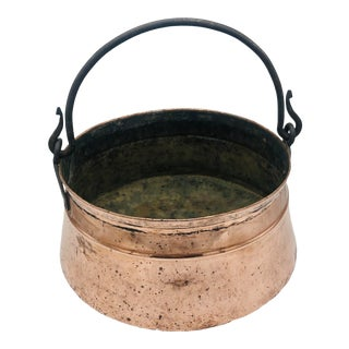 Antique Copper Cauldron /Pot With Hand Forged Iron Handle For Sale