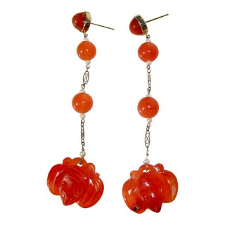 Modern Drop Earrings With Chinese Vintage Elements For Sale