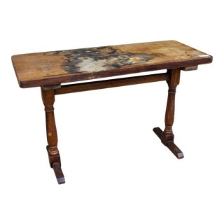 Antique French Distressed Wood Console Table For Sale