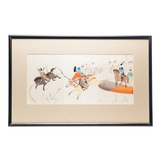 Framed Samurai Hunting Japanese Woodblock Triptych Giclee Print For Sale