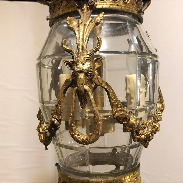Gold Antique Bronze & Crystal Lantern Chandelier For Sale - Image 8 of 12
