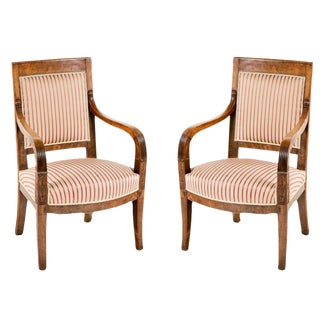 1820s Italian Empire Walnut Chairs - a Pair For Sale