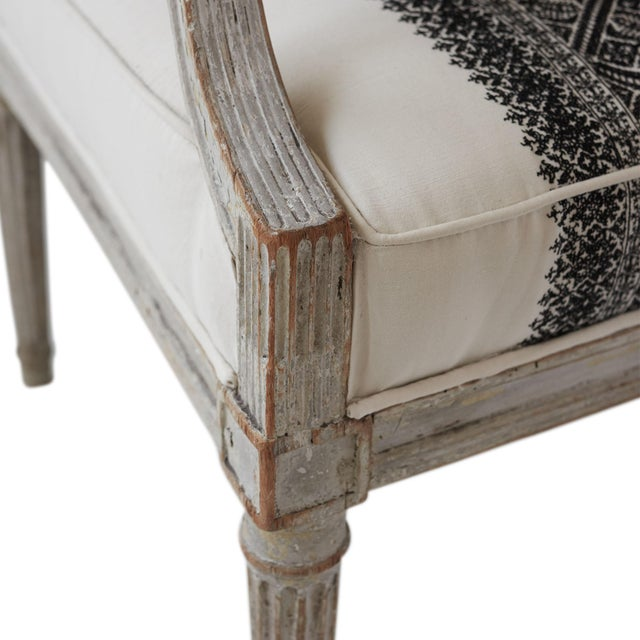 Fabric 18th Century Jean Avisse Signed Hand-Carved Bergère French Armchair For Sale - Image 7 of 8
