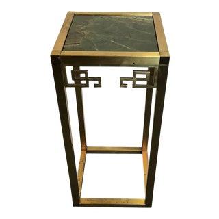 Vintage Mastercraft Brass and Verde Marble Plant Pedestal For Sale