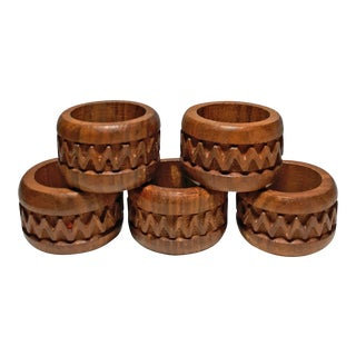 Vintage Carved Teak Napkin Rings From India - Set of 5 For Sale