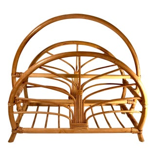Mid Century Rattan Cane Magazine Rack For Sale