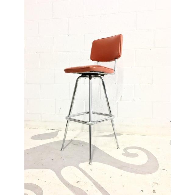 Mid-Century Chrome and Orange Vinyl Barstool - Image 2 of 6