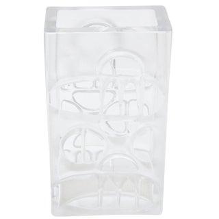 Vintage Hallmarked Modernist Danish Cut Out Square Glass Vase For Sale