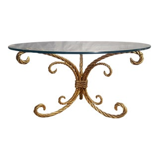 Vintage Italian Gilt Gold Twisted Rope Cocktail Table Base