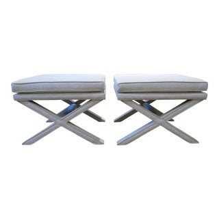 Modern Quadrille & Leather X-Benches- A Pair For Sale