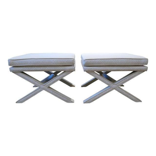 Incredible Modern Quadrille Leather X Benches A Pair Machost Co Dining Chair Design Ideas Machostcouk