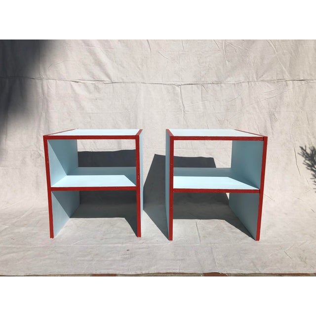 2010s Handmade Sky Blue With Red Painted Night Stands - a Pair For Sale - Image 5 of 5