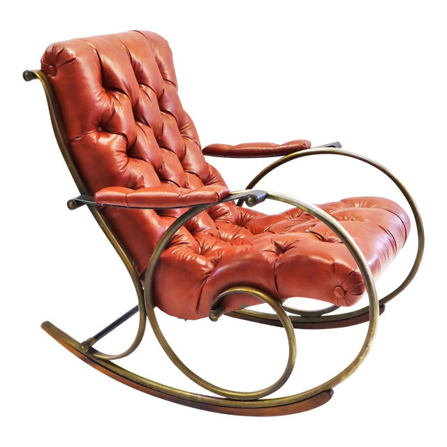 Image of Modern Woodard Sculptural Tufted Leatherette Rocking Chair 1970s