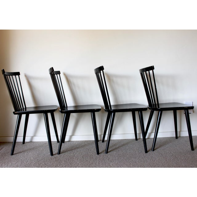 Swedish Mid Century Solid Wood Spindle Dining Chairs - Set of 4 For Sale - Image 4 of 9