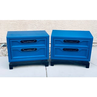 1980's Asian Modern Blue Nightstands - a Pair Preview