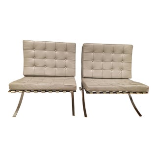 Barcelona Gray Leather Chairs - a Pair