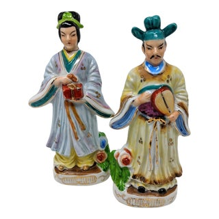 1940s Vintage Japanese Emperor and Empress Sculptures - a Pair For Sale