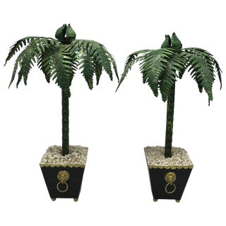 1970s Italian Tole Palm Tree Sculptures, Pair For Sale