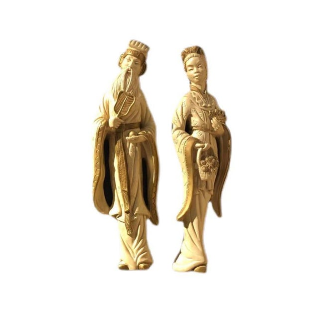 Mid 20th Century Chalkware Emperor and Empress Wall Plaques - a Pair For Sale - Image 10 of 10