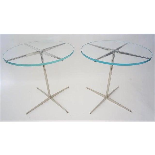 Vintage Drinks or Side Tables Glass on Polished Steel Pedestal - a Pair For Sale - Image 12 of 12