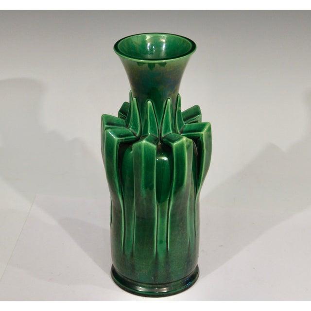 1910s Awaji Pottery Organic Arts & Crafts Petal Handle Green Monochrome Vase For Sale - Image 4 of 12