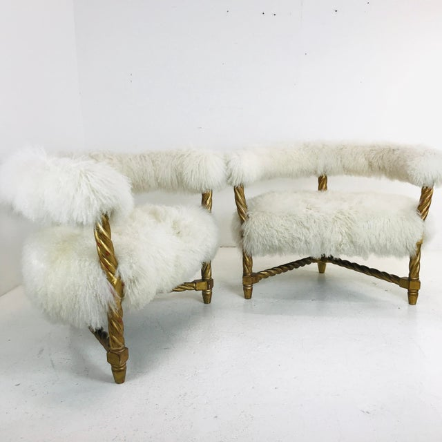 Pair Mongolian Lamb Chairs For Sale In Dallas - Image 6 of 6