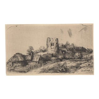 After Rembrandt Etching Landscape With Tower and Thatched Cottages Early 20th C. For Sale