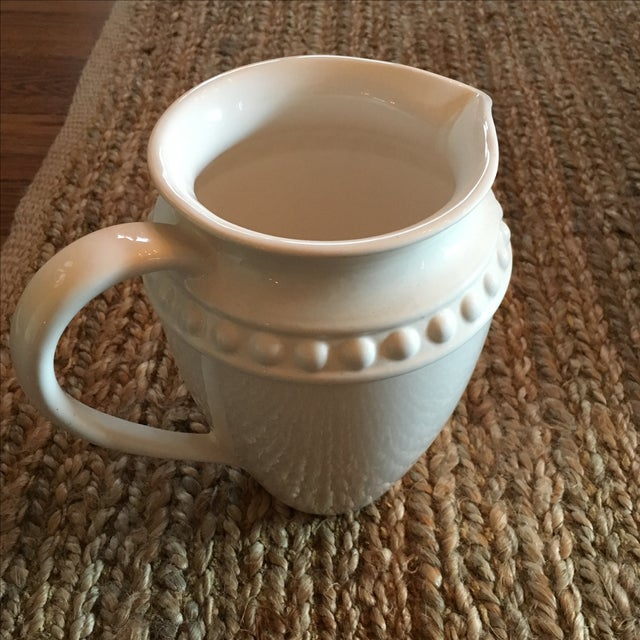White Ceramic Pitcher With Dot Detail and Handle For Sale - Image 4 of 5