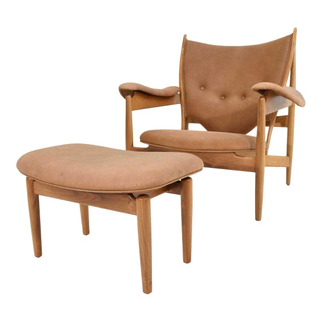 Finn Juhl Chieftain Chair and Ottoman by Baker For Sale