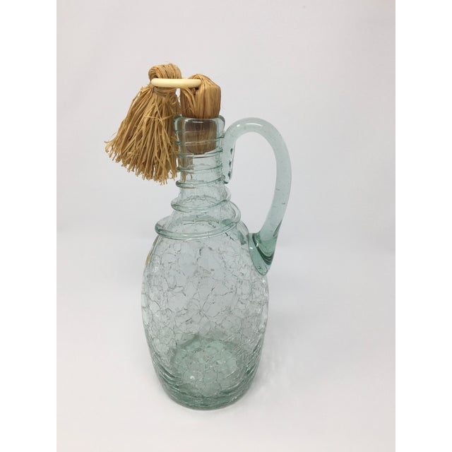 Mid-Century Modern Mid-Century Swedish Crackle Glass Bottle For Sale - Image 3 of 9