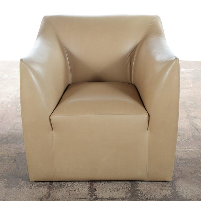 Club Leather Chair With Ottoman -Designer For Sale - Image 4 of 10