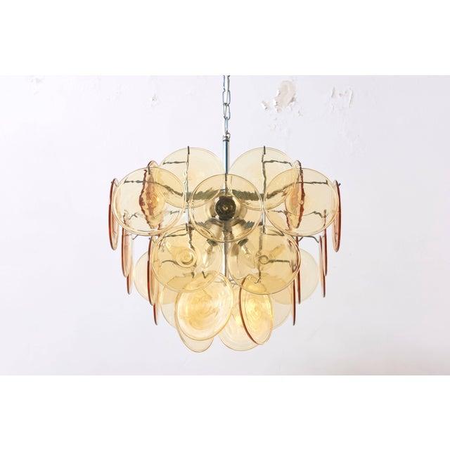 Italian Amber Glass Disc Vistosi Chandelier For Sale - Image 3 of 11