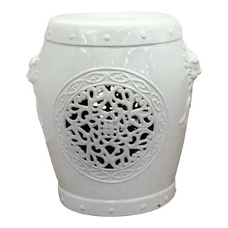 White Ceramic Garden Stool with Asian Inspired Motifs For Sale