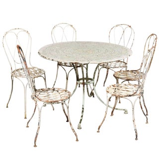 19th Century Iron Painted Garden Table & 6 Chairs