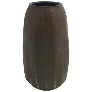 1908 Martin Brothers Miniature Ribbed Vase, Signed and Dated For Sale
