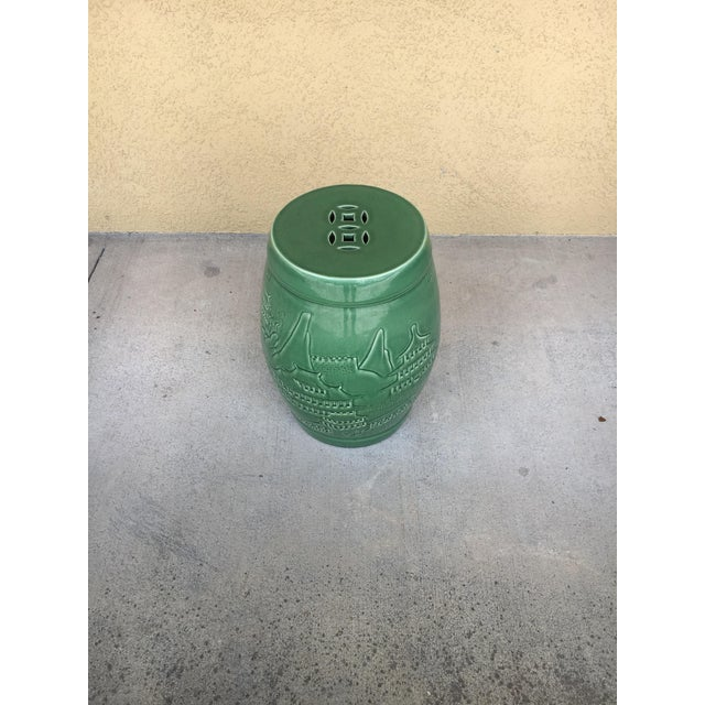 Vintage Contemporary Chinoiserie Green Ceramic Garden Stool For Sale - Image 9 of 9
