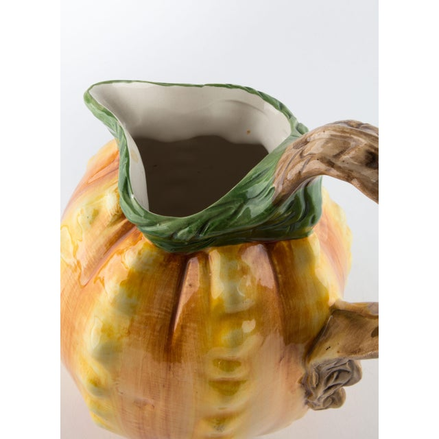 Green Vintage Hand Painted Italian Pineapple Pitcher For Sale - Image 8 of 11