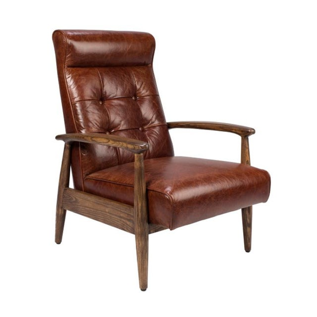 Brown Tufted Leather Club Chair - Image 2 of 4