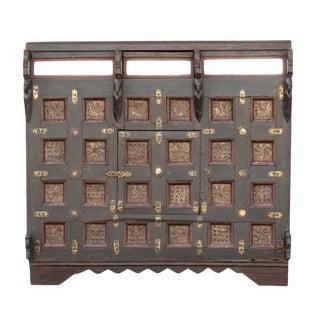 Antique Brass Paneled Damachiya For Sale