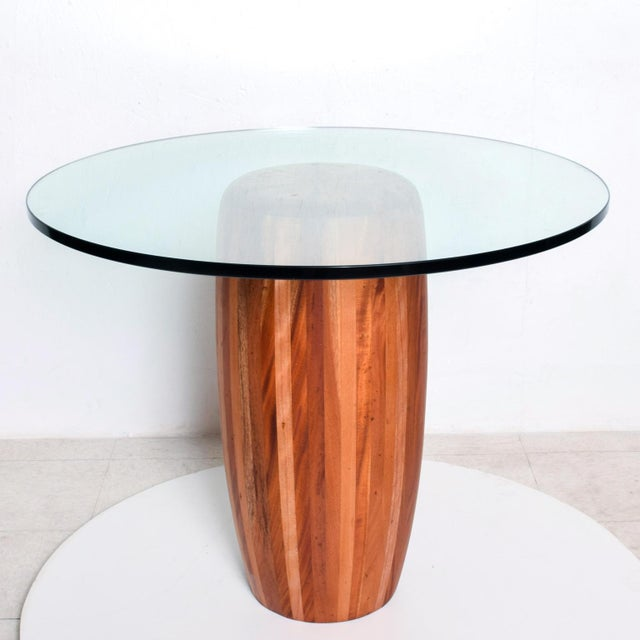 For your consideration, a center table. The pedestal base is constructed with solid cedar wood. The glass top is about...