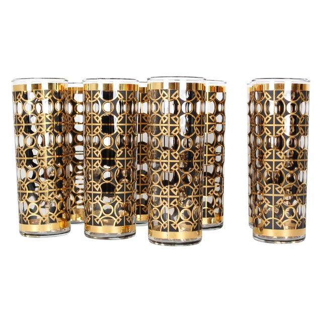 Vintage Gold Tom Collins Glasses - Set of 8 - Image 1 of 7