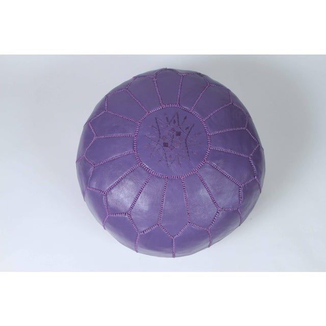 Mid 20th Century Hand-Tooled Moroccan Lavender Color Leather Pouf For Sale - Image 5 of 5