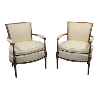 Louis XVI Style Walnut Armchairs - a Pair